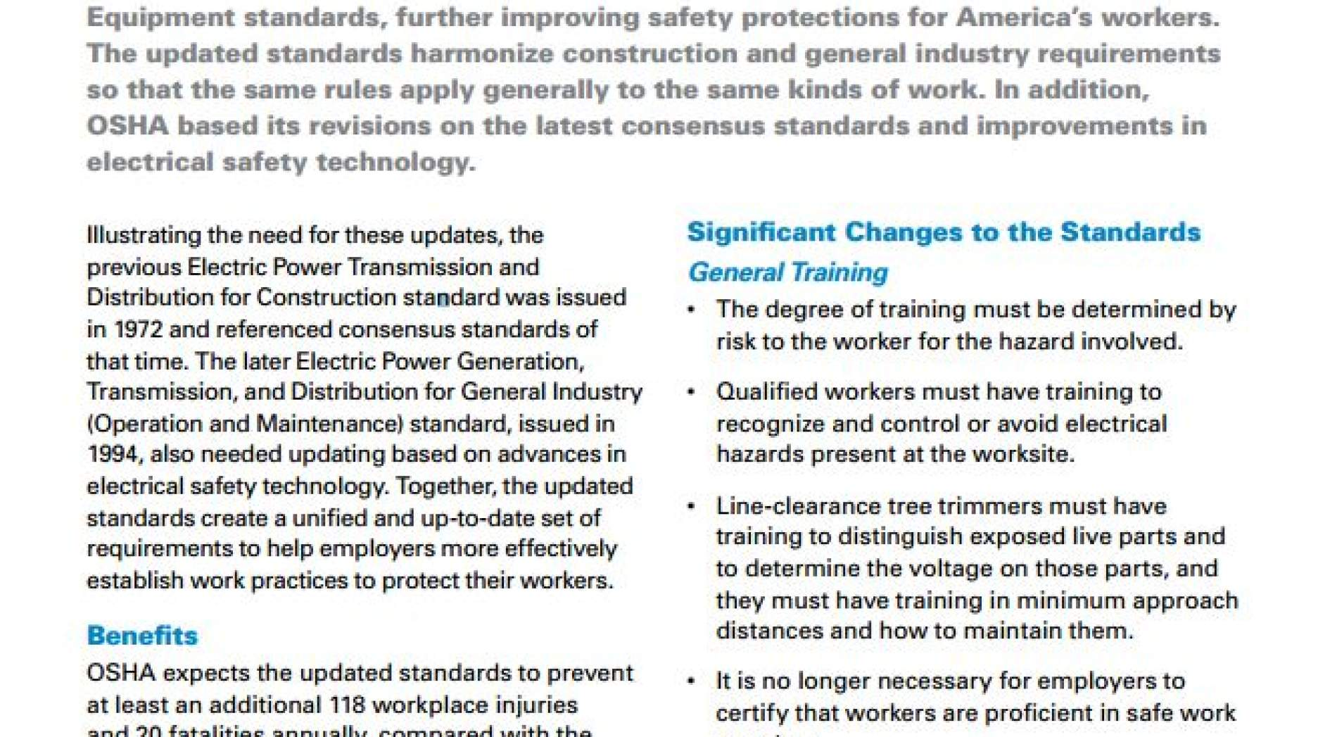 OSHA Electrical Standards Provisions to be enforced Oct  31