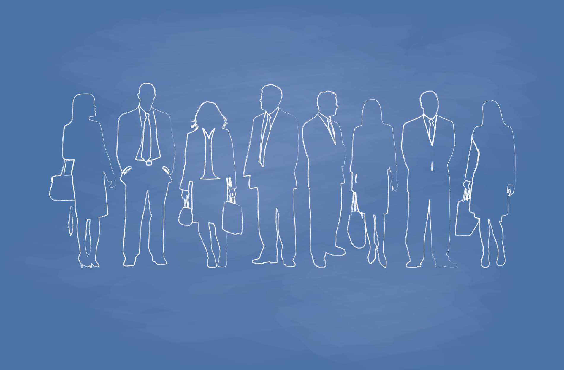 outlines of business people