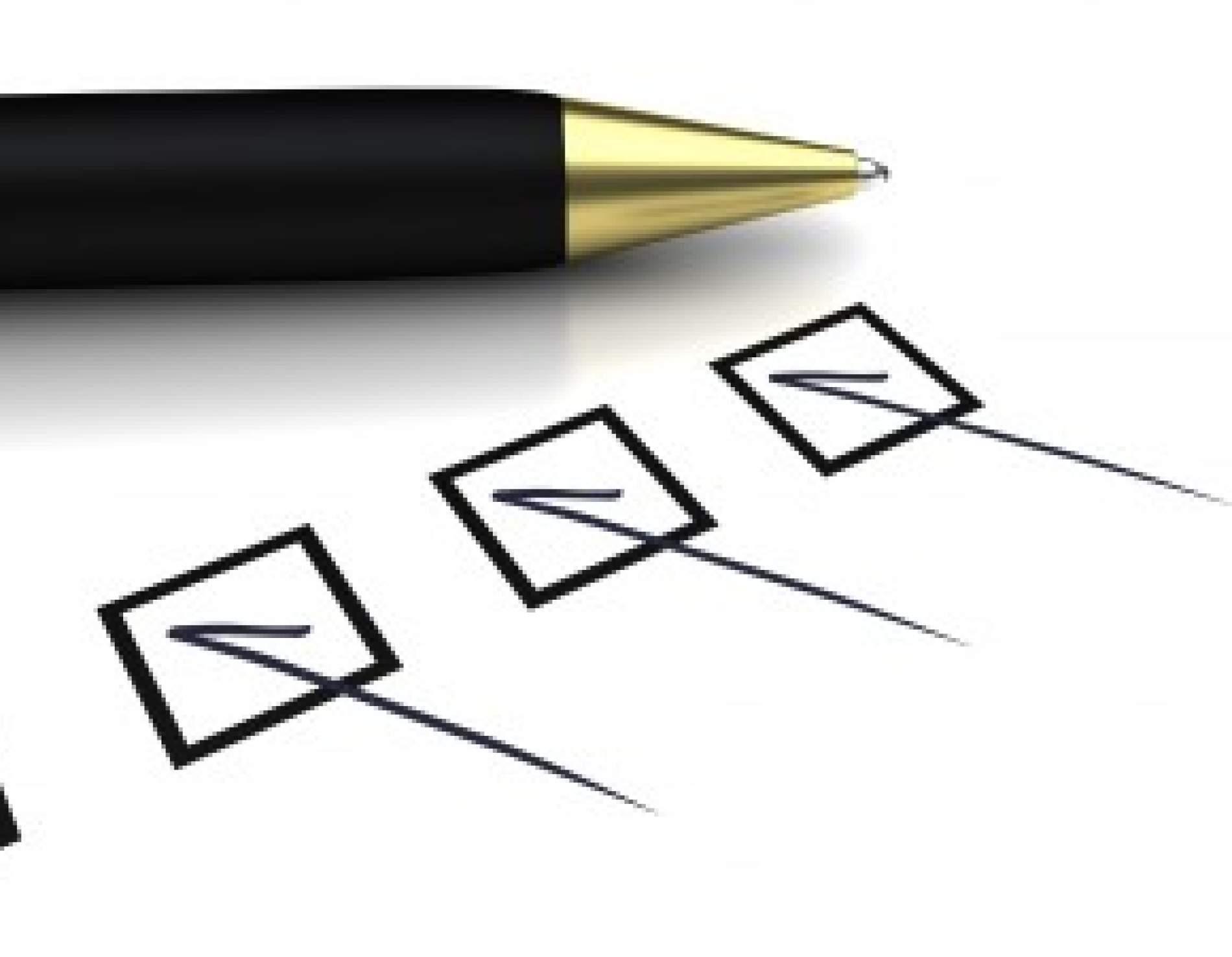 pens checking a box