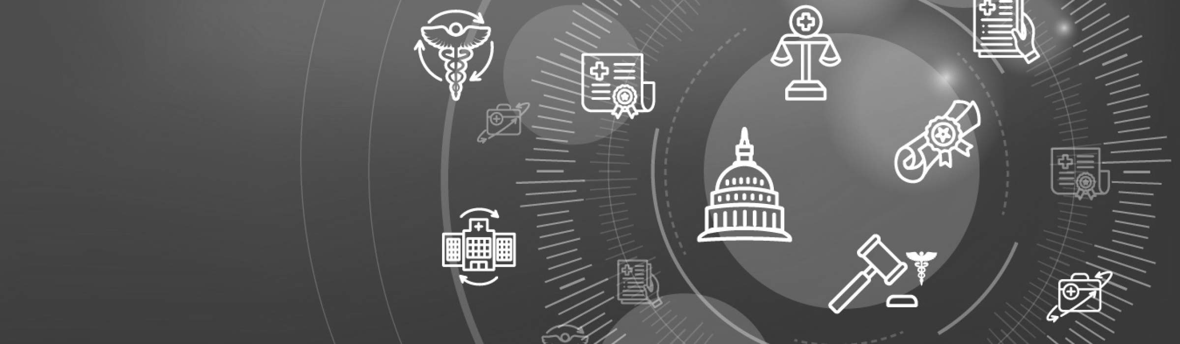 Health Laws and Legal icon set depicting various aspects of the legal system Web Header Banner