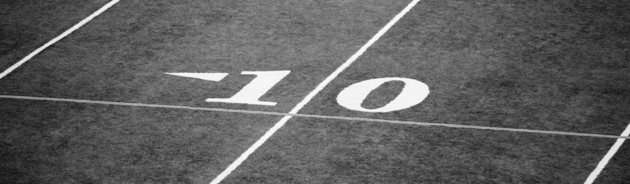 The 10 yard line of a football field